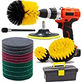Drill Brush and Scrub Pads, GOH DODD 17 PCS Yellow Power Scrubber Cleaning Kit with Long Reach Attachment in Tool Box For Bathroom Shower Scrubbing, Carpet Cleaning, Grout Scrubbing, and Tile Cleaning