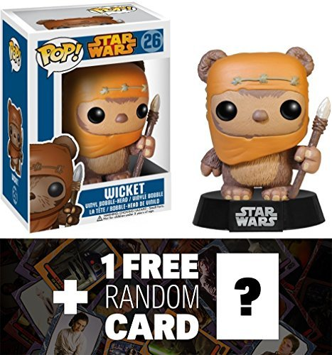 Star Wars Wicket: Funko POP! x Vinyl Bobble-Head Figure w/ Stand + 1 FREE Official Trading Card Bundle [32702]