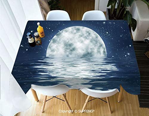 Picnic Tablecloth Moon Setting Over The Sea with Waves Night Sky with Stars End of The Evening Decorative (60 X 84 inch) Great for Buffet Table, Parties, Holiday Dinner, Wedding & More.Desktop Decora]()