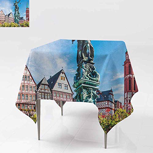 DUCKIL Elegance Engineered Tablecloth Old City of Frankfurt Germany with Historical Buildings Statue Cityscape Scenery Table Decoration W54 xL54 Multicolor