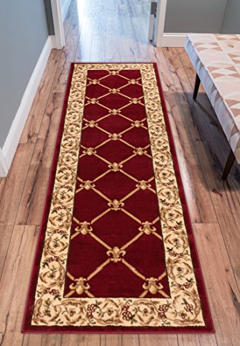Patrician Trellis Red French European Formal Traditional 3x12 (2'7