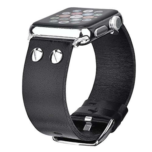 VIGOSS Compatible Genuine Leather Watch Band Strap Men Women Replacement for Apple Watch Series 3 Series 2 Series 1 Sport Edition (Black, 42mm)