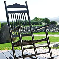 High Back Slat Seat Adult Rocker Black