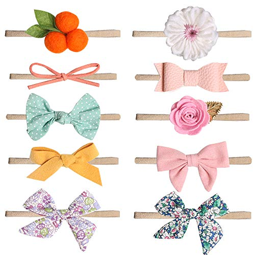 K T One Baby Girl Headbands and Bows, Nylon Hair Accessories for Newborn Infant Toddlers Kids