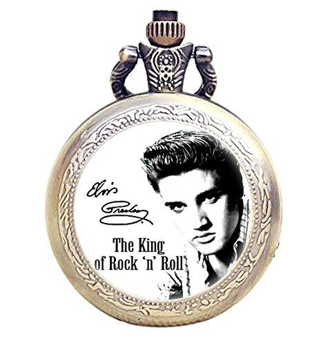 - TAPORT Elvis Presley Bronze Antique Engraved Quartz Pocket Watch + Spare Battery + Gift Bag Brown