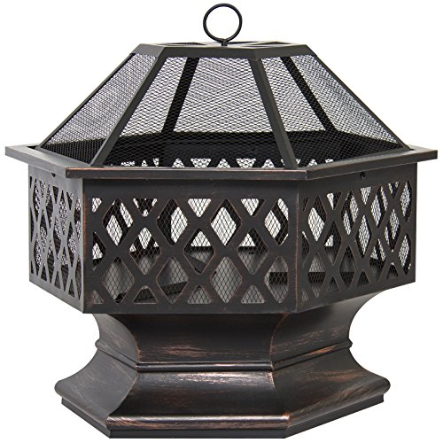 MRT SUPPLY Hex Shaped Fire Pit for Outdoor Home Garden Backyard - Black with Ebook ()