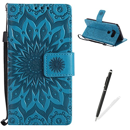 LG G5 Wallet Case Premium Soft PU Leather Cover with Card Slots and Wrist Strap Stand Function MAGQI Embossed Mandala Cover for LG G5 + Black Stylus - Blue