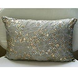 Metallic Silver Sequins Lumbar Pillow Cover