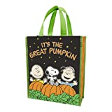 "Vandor 85073 Peanuts ""It's The Great Pumpkin"" Small Recycled Shopper Tote, Green, Black, and Orange"