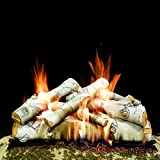 Myard DELUXE 30'' inches SIERRA BIRCH Fire Gas Logs (LOGS ONLY) for Natural Gas / Liquid Propane Vented Fireplace