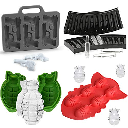 - (Set of 4) Grenade Ice Mold for Whiskey, Handgun Pistol and AK47 Bullet Ice Cube Trays, Bomb Missile Silicone Chocolate Candy Mold, Weapon Party Favors Supplies for Kids Adults Military Fans