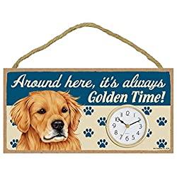 Around Here, It's Always Golden Time! 10W x 5H Wall or Desk Dog Clock with Bonus I Love My Dog Decal