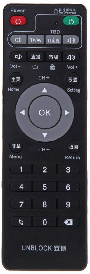 Set-Top Box Learning Remote Control for Unblock Tech Ubox Smart TV Box Gen 1/2/3