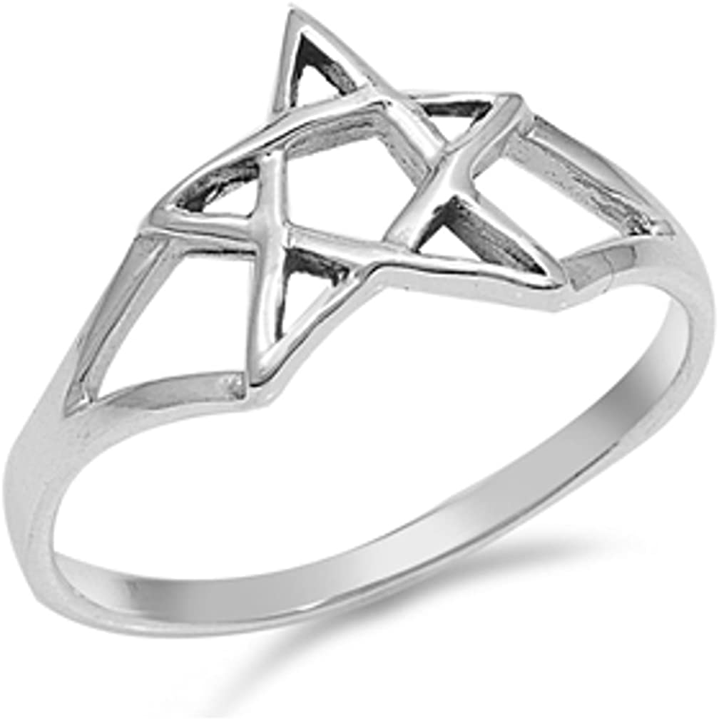 Star Ring Sterling Silver 925 Free Gift Box Wire Outline