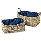 Everyday Essential Organizer Baskets, Set of 2, Handcrafted of Woven Seagrass,, Rectangular Nesting, Stitched and Lined with Polyester, 17 3/8- 15 3/4 Inches, By Whole House Worlds