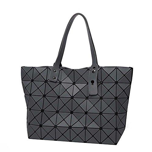 Bolso De Mujer Geométrico Rombal Bolsa 7 * 8 Mate Bolso Plegable Hombro Bolsa De Láser De Moda Increíble Grey