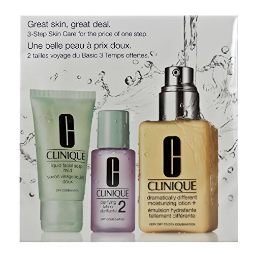 Clinique 3 Piece 3 Step Skin Care Introduction Kit for Unisex, Dry Combination Skin (Dry Skin Care Kit)