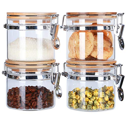 Clear Borosilicate Glass Storage Jars with Airtight Locking Clamp Bamboo Lids for Kitchen BPA Free, Salt Sugar Pepper Container Coffee Tea Canister Cookies Jasr (16floz x 4)