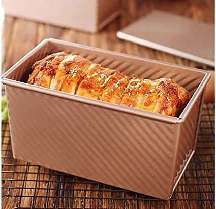 caja de cartón corrugado utensilios para hornear pan de oro tostadas molde con tapa horno antiadherente