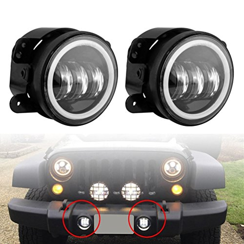 (WINUNITE White Halo Ring 4 Inch Fog Light Jeep Wrangler JK Round Auto LED Driving Lamp Passing Light White Angel Eyes - Pair)