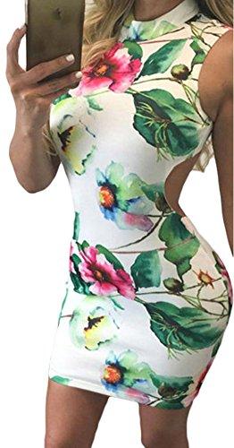 YeeATZ Women's Elegant Bodycon Retro Floral Print Open Back Sleeveless Mini (Taylor Sleeveless Colorblock Dress)