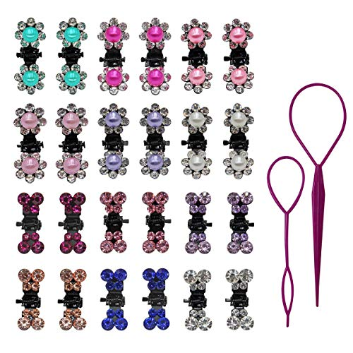 - 72 Pieces 1 inch Little Girls Hair Claw Crystal Rhinestone Pearl Mini Flower Butterfly Hair Clips Claw Hair Accessories for Baby Toddler Kids Women