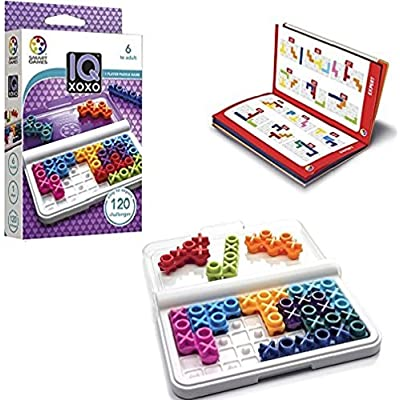 SmartGames IQ XOXO, a Travel Game for Kids and Adults, a Cognitive Skill-Building Brain Game - Brain Teaser for Ages 6 & Up, 120 Challenges in Travel-Friendly Case.: Toys & Games