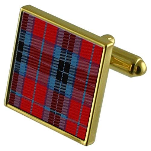 Boutons de manchette or Tartan Clan MacTavish personnalisée gravée en cas