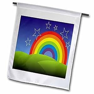 3dRose fl_99608_1 Rainbow Art Will Bring on Smiles Garden Flag, 12 by 18-Inch