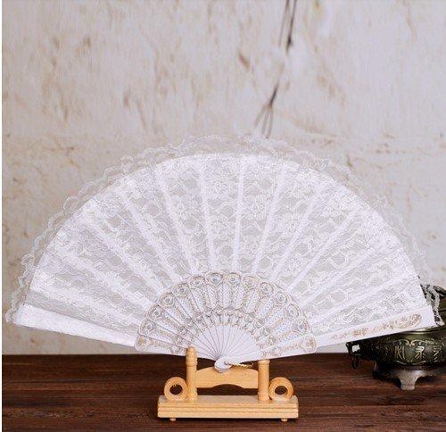 White Sequins Spanish Hand Fan Lace Fabric Dancing Folding Fan Party Decoration Fans Girls Women by Hand Fan