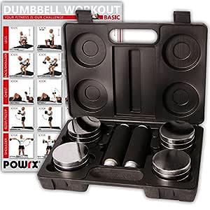 POWRX - Juego de Pesas de 5 kg Incluye maletín | Set de 2 ...