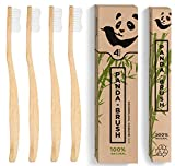 #8: Bamboo Wooden Toothbrush - The Panda BrushTM - Luxury Patented Handle - Biodegradable and Renewable Wood ToothBrushes - BPA-Free Medium Nylon Bristles - Natural Dental Care (4 pack Adult Size)