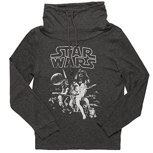 Fifth Sun Star Wars Vintage Poster Junior Cowl Neck Sweatshirt - Heather Grey (Large)