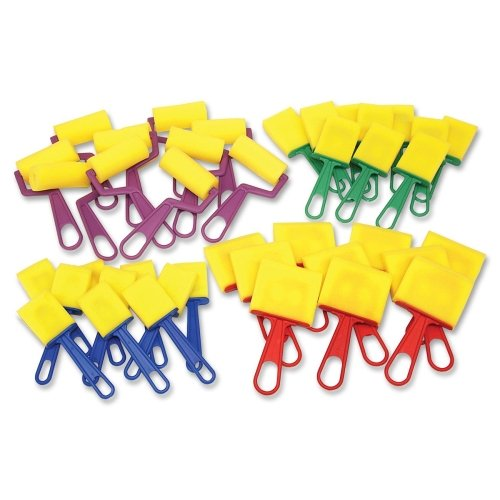 ChenilleKraft Foam Brushes/Rollers Classroom Pack - 40 Brush(es) - Plastic Handle - Assorted - Es Plastic Handle