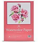 30 Sheets 9 X 12 Watercolor Paper (140lb/300gsm) Fold Over Design Cold Press Watercolor Pad
