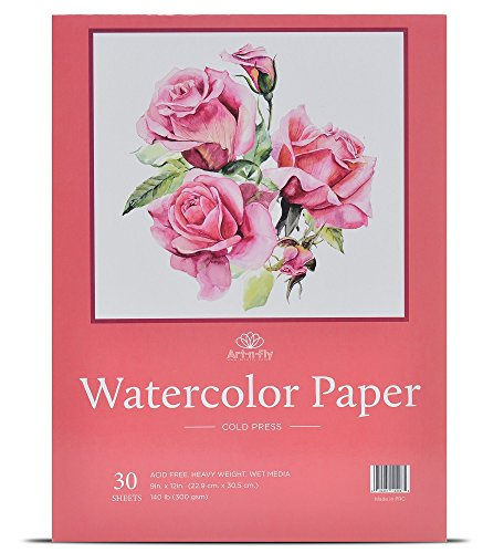 30 Sheets 9 X 12 Watercolor Pad (140lb/300gsm) Fold Over Design Cold Press Watercolor Paper