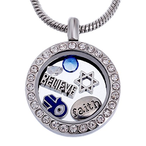 RUBYCA Themed Round Locket Necklace Crystal Birthstone Living