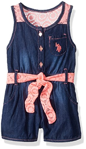 - U.S. Polo Assn. Baby Girls, Denim lace Yoke Romper Dark wash, 24M