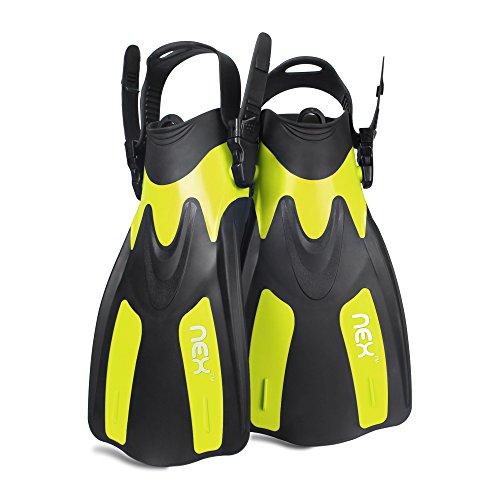 NEX Adult Snorkeling Swim Fins Short blade Diving Fins Adjustable Flippers,1 Pair (Yellow, ML/XL) (Open Heel Swim Fins)