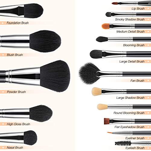 BESTOPE 16Pcs Makeup Brushes Set, 4Pcs Beauty Blender Sponge Set and 1 Brush Cleaner, Premium Synthetic Foundation Brushes Blending Face Powder Eye Shadows Make Up Brushes Kit 4