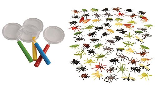 Kid Fun Assorted Insects & Magnifying Glass Toy Party Favor Supplies 84 Pieces Set for 12 (Bug Finger Puppets)