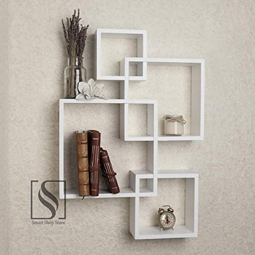 Wooden Intersecting Wall Shelves for Living Room Home Decoration Book Shelf for Office Décor Brown