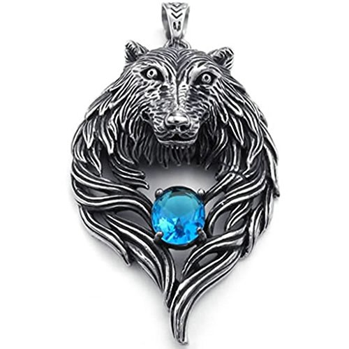 - Daesar Stainless Steel Necklaces Mens Pendant Necklaces Wolf Head Design 26Inch