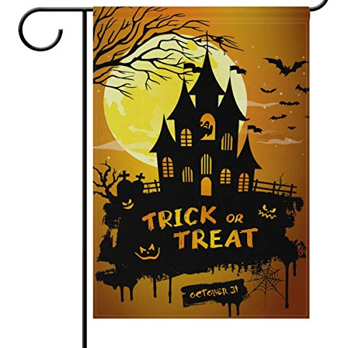 Wamika Halloween House Flags 28 x 40 Double Sided, Castle Night Pumpkins Bat Full Moon Funny Scary Welcome Autumn Fall Winter Holiday Outdoor Yard Garden Flag Banner Party Home Decor For Sale