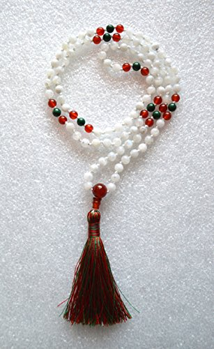 6 MM MOONSTONE CARNELIAN MALACHITE PRAYER BEADS HAND KNOTTED JAPA MALA NECKLACE. KARMA 108+1 BEADS. STRONGEST POSSIBLE HAND KNOTTED IN 100% PURE SILK THREAD 8 PLY. BLESSED & ENERGIZED BEST GRADE GENUINE QUALITY HINDU TIBETAN BUDDHIST PRAYER KARMA BEADS SUBHA ROSARY MALA FOR VITALITY, NIRVANA, BHAKTI, FOR REMOVING INNER DOSHAS, FOR CHANTING AUM OM, FOR AWAKENING CHAKRAS, KUNDALINI THROUGH YOGA MEDITATION-FREE OM MALA POUCH INCLUDED - USA SELLER