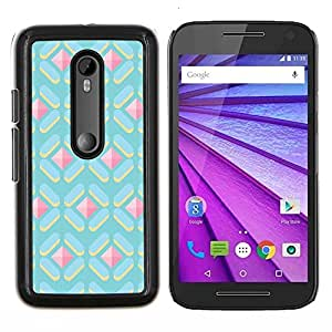 EJOOY---Cubierta de la caja de protección para la piel dura ** Motorola MOTO G3 / Moto G (3nd Generation) ** --polígono modelo lindo gema azul rosa