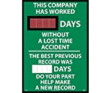 National Marker DSB62 ''This Company Has Worked XXX Days Without A Loss Time Accident The Best Previous Record Was (Magnetic 6 X 2.5) Days Do Your Part Help Make A New Record'' Digital Scoreboard Sign, 28'' x 20'', Styrene, 0.085''
