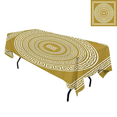 Greek Key,Tablecloth for Kitchen Dining Tabletop,Frieze with Vintage Ornament Meander Pattern from Greece Retro Twist Lines,for Dining Room,W60 x L102 Inch Goldenrod White