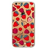 iPhone 6 Plus / 6S Plus, Fruit Surprises Colorful Rubber Flexible Silicone Case Bumper for Apple Clear Cover - Sweet Red Cherry Strawberry Overload