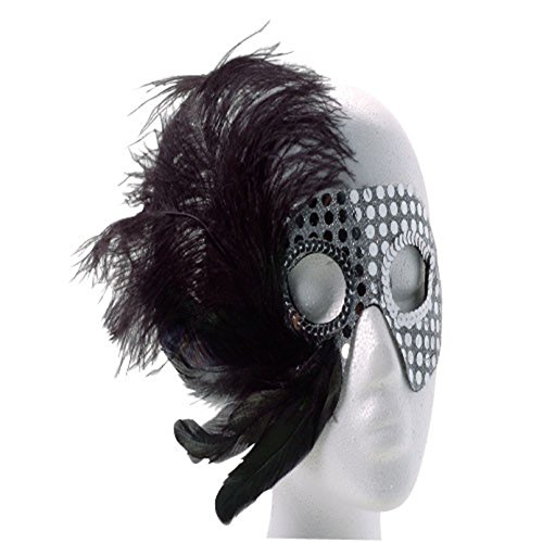 - One Silver Sequin Showgirl Mardi Gras Mask With Assorted Color Feathers